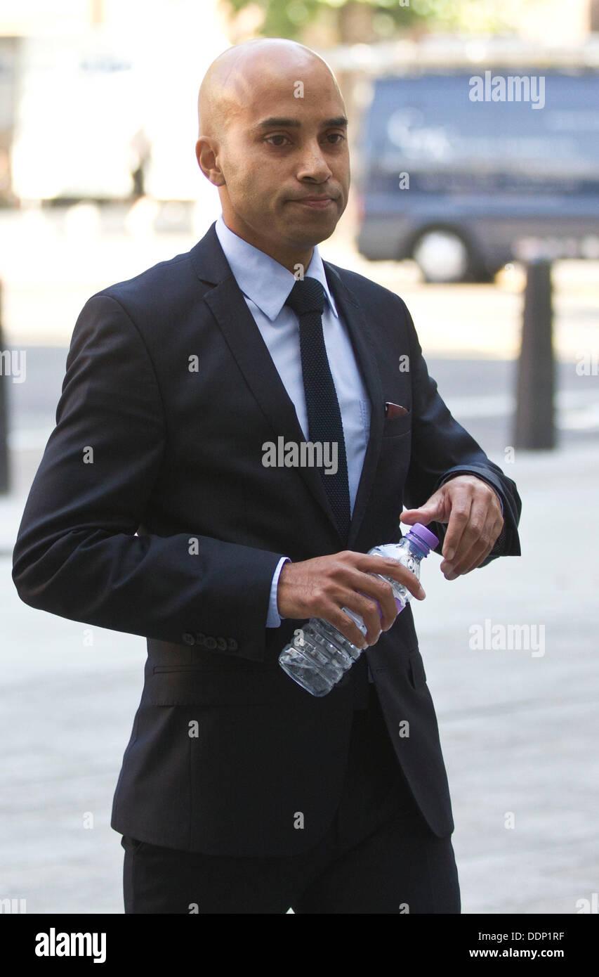 Westminster Magistrates Court LONDON, ENGLAND - SEPTEMBER 05: Sun journalist Vince Soodin arrives at Westminster Stock Photo