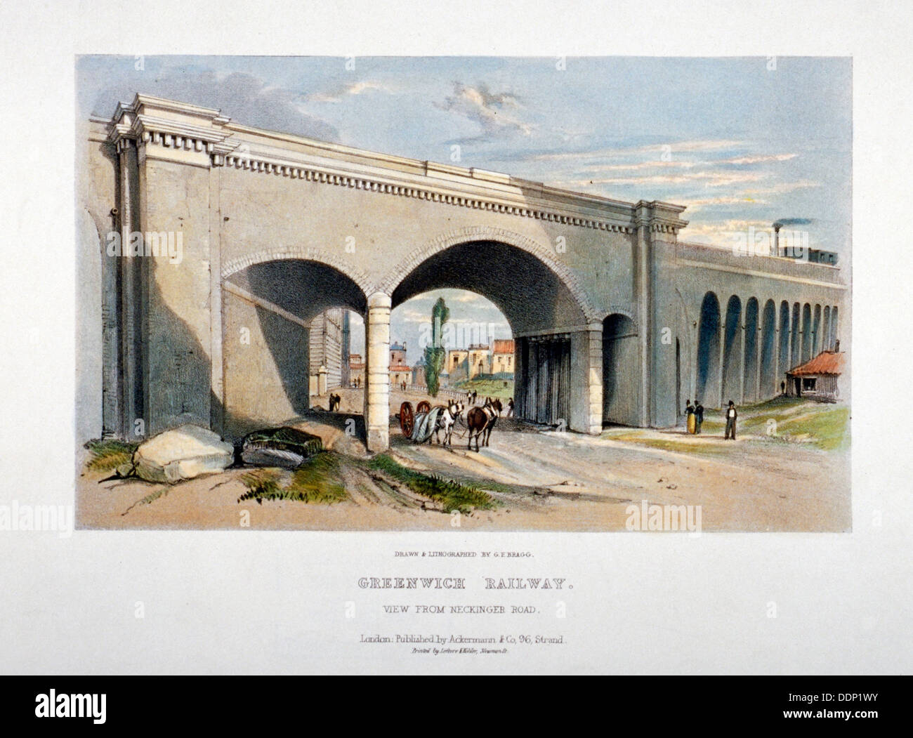 London and Greenwich Railway bridge over the Neckinger Road, Bermondsey, London, 1836.     Artist: GF Bragg Stock Photo