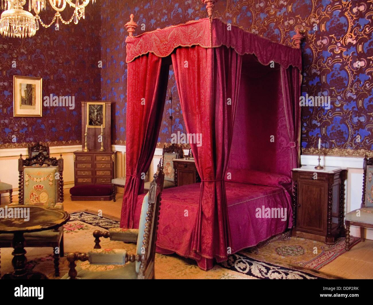 Bed. Royal Palace of Riofrío. Segovia province, Castilla-León. Spain Stock Photo