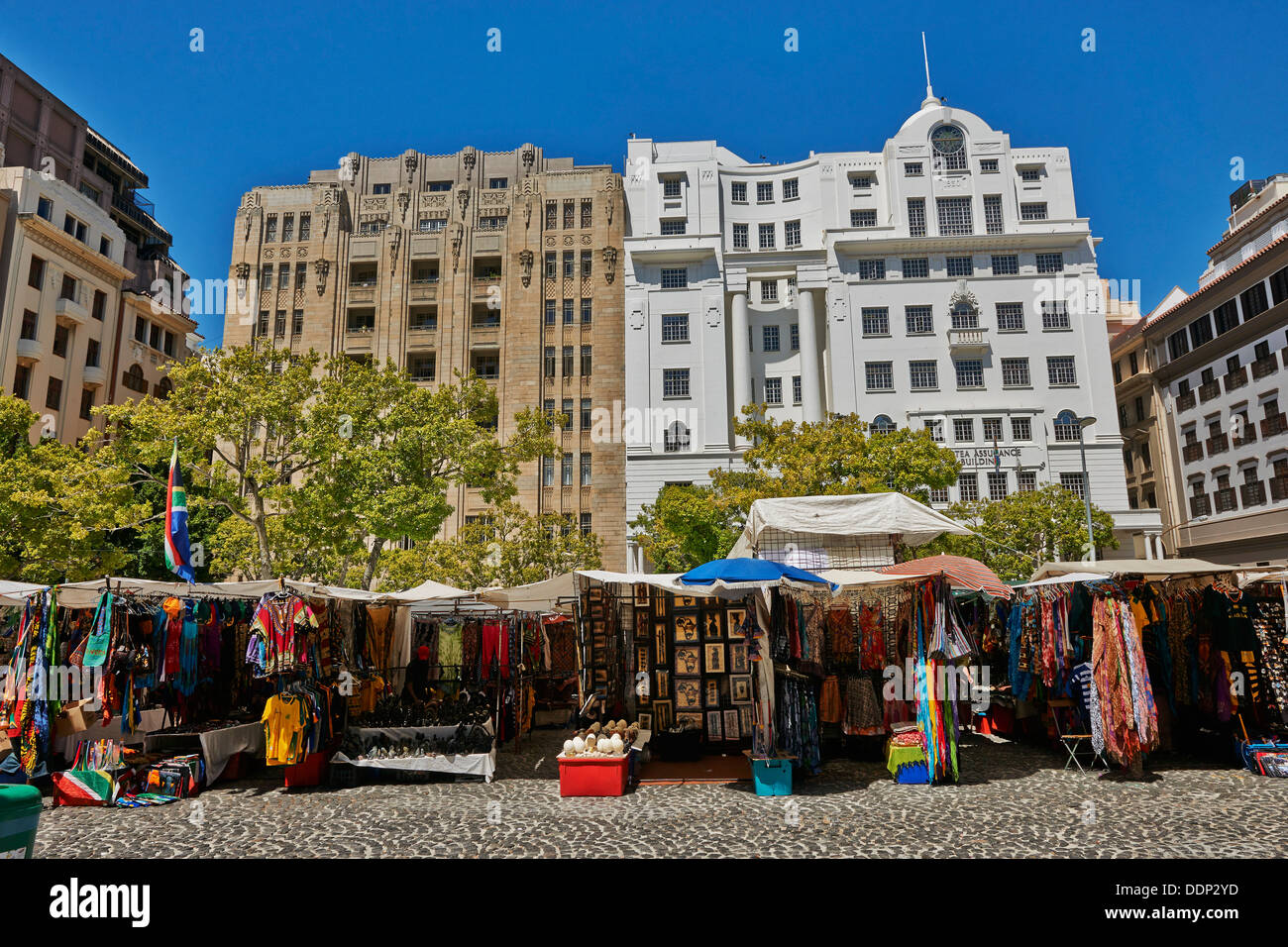 Market stalls, Greenmarket Square, Cape Town, Western Cape, South Africa, Africa Stock Photo