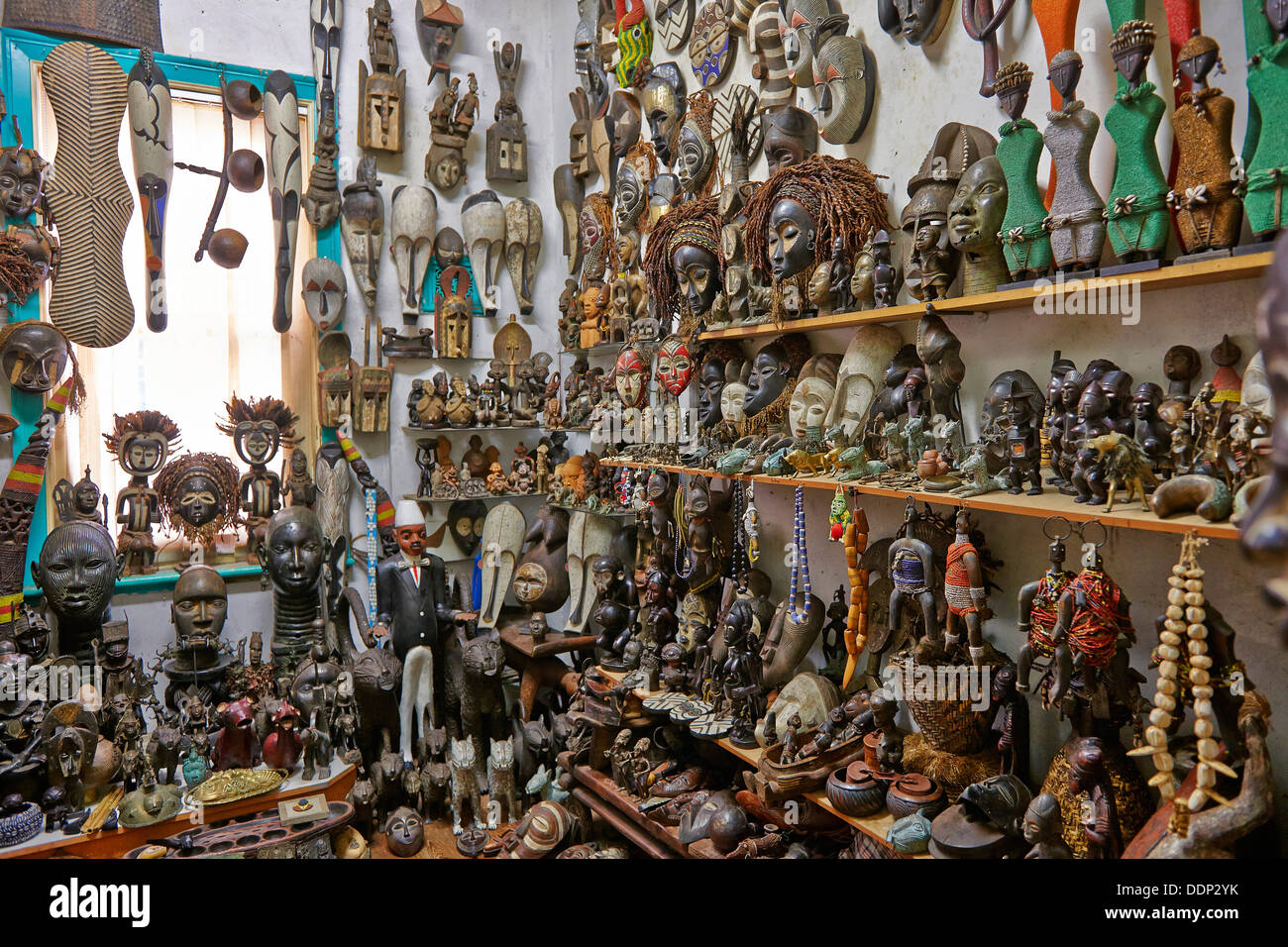 Masks in a shop, Cape Town, Western Cape, South Africa, Africa Stock Photo