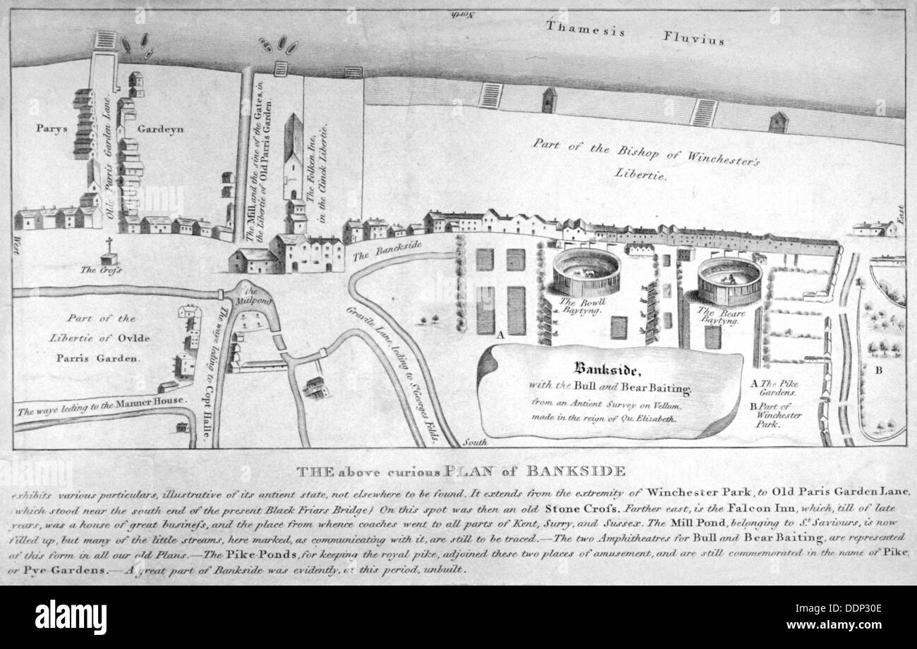 Plan of Bankside, Southwark, London, c1570. Artist: Anon - Stock Image