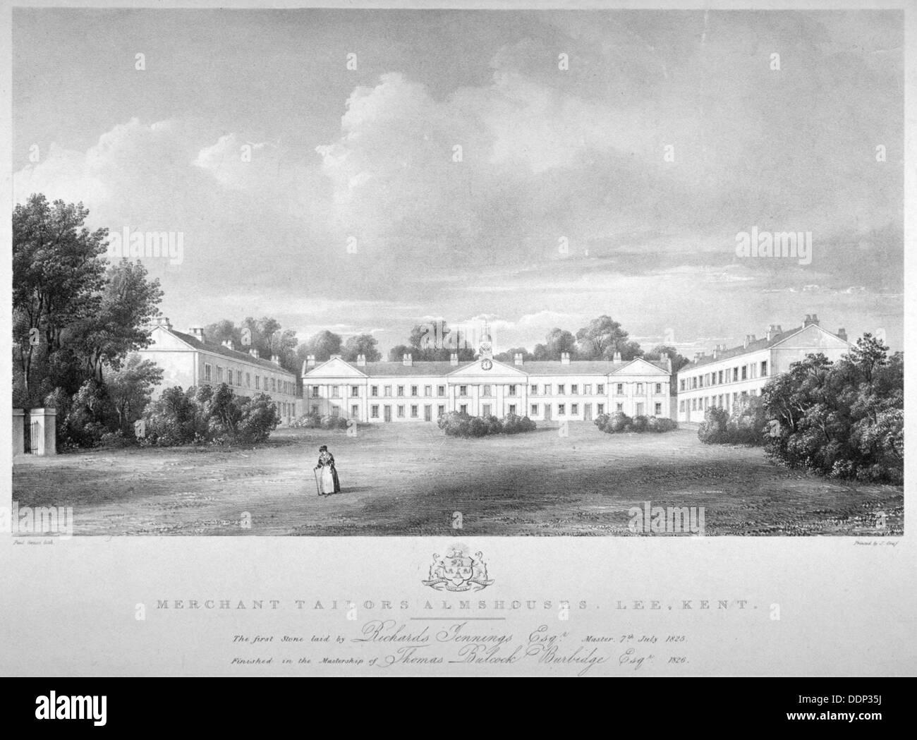 View of the Merchant Taylors' Almshouses on Lee High Road, Lewisham, London, 1826.                   Artist: Paul Stock Photo