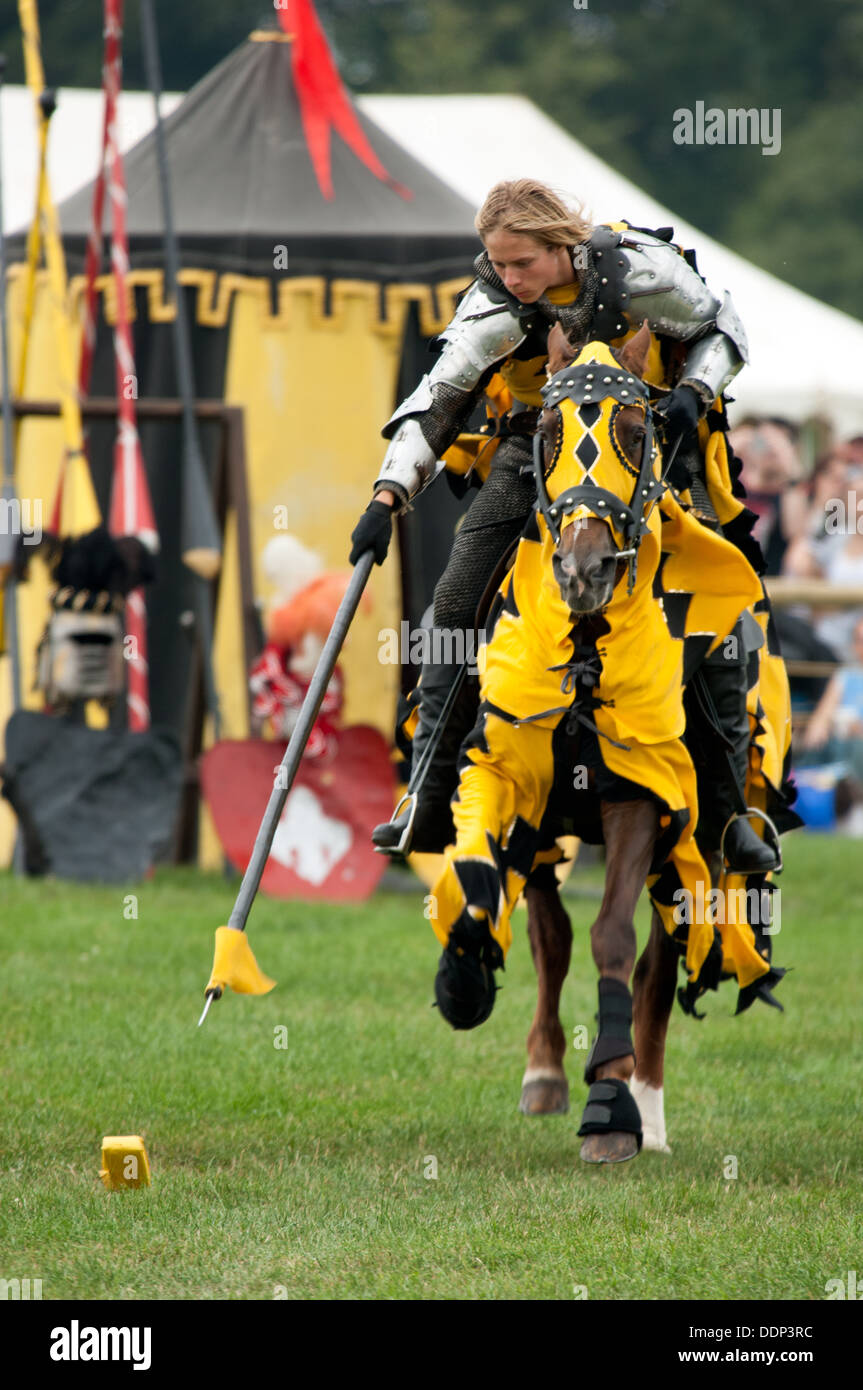 A rider & horse in medieval dress demonstrating galloping and pegging at a Mediaeval re-enactment tournament event in the UK - Stock Image