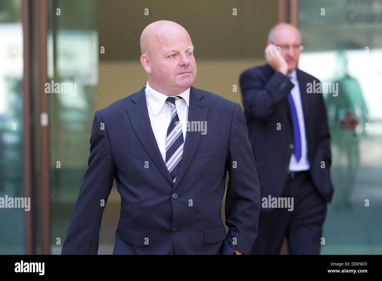 Westminster Magistrates Court LONDON, ENGLAND - SEPTEMBER 05: Sun journalist Jamie Pyatt leaves Westminster Magistrates Stock Photo