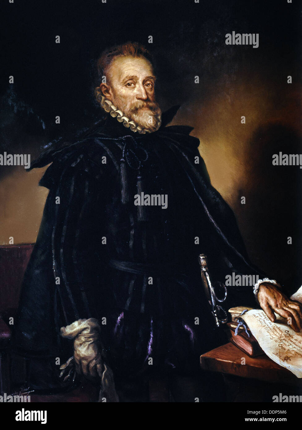 anonymous - Portrait of Miguel de Cervantes - XVI th century - Madrid - Stock Image