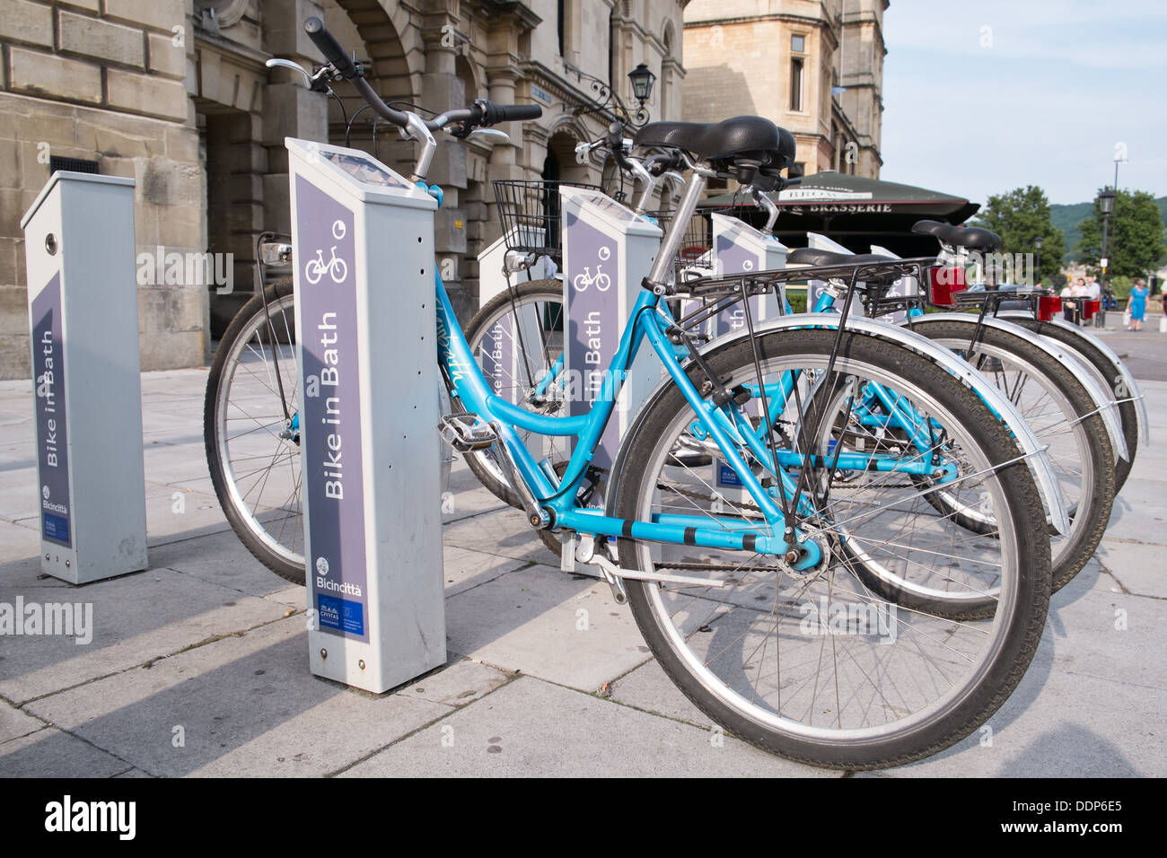 A Docking station for public rental bicycles in the centre of the world UNESCO heritage city of Bath in Somerset, England, UK - Stock Image