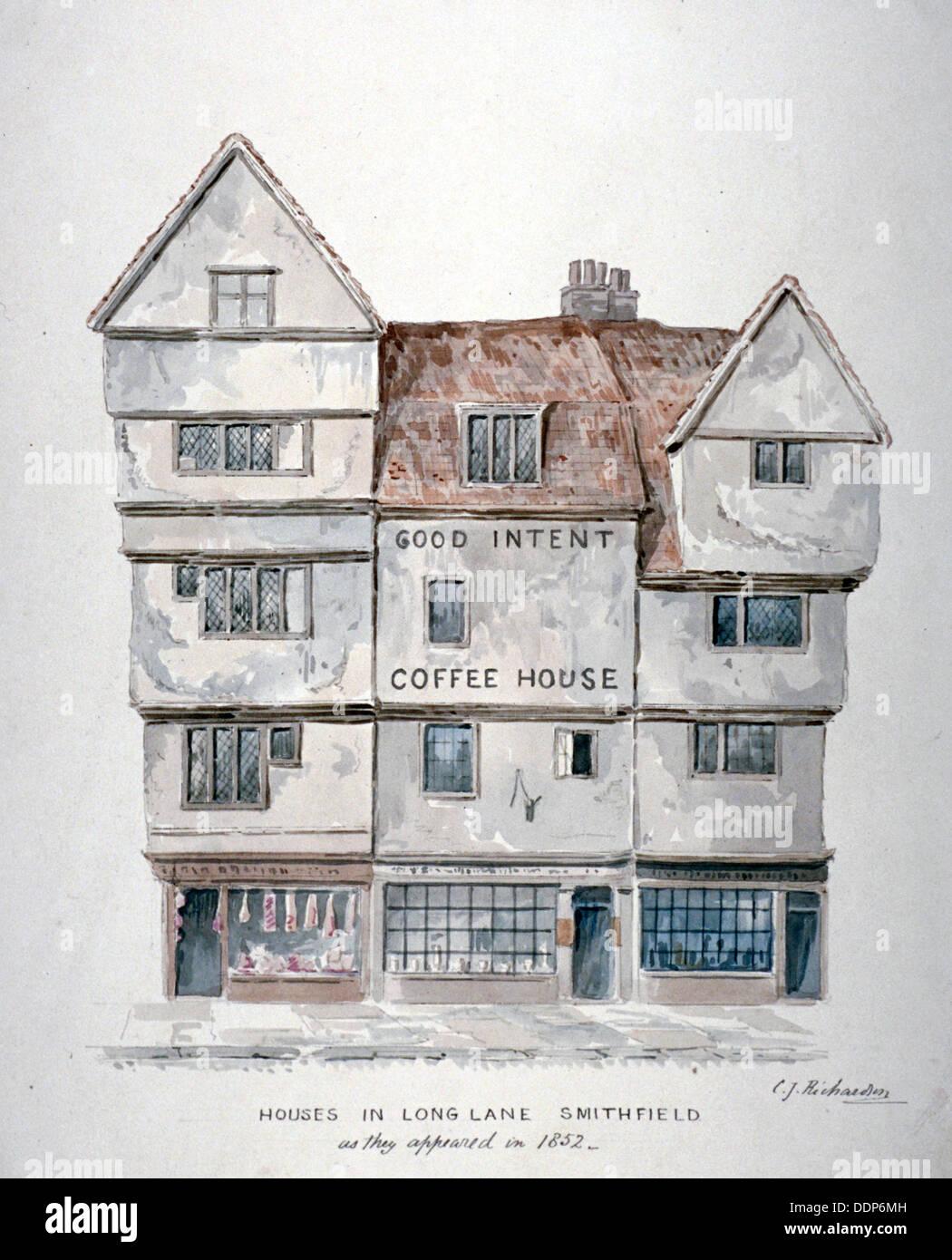 Buildings in Long Lane, Smithfield, City of London, 1852. Artist: Charles James Richardson - Stock Image