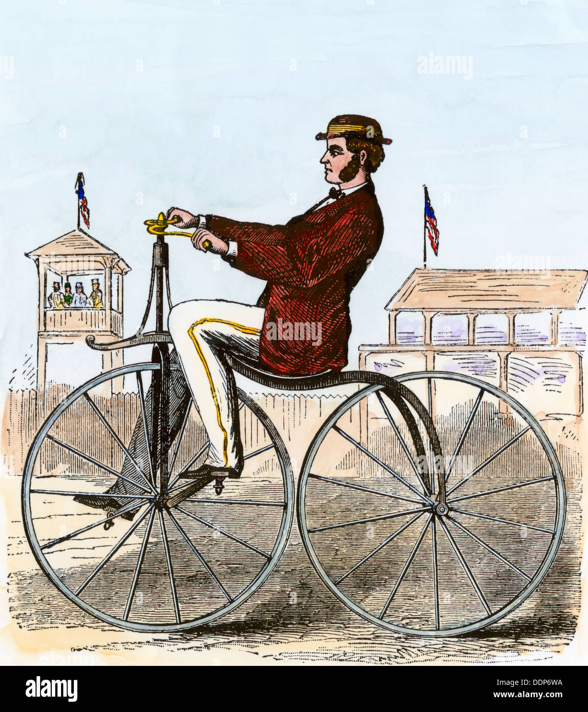 Velocipede of 1868. Hand-colored woodcut - Stock Image