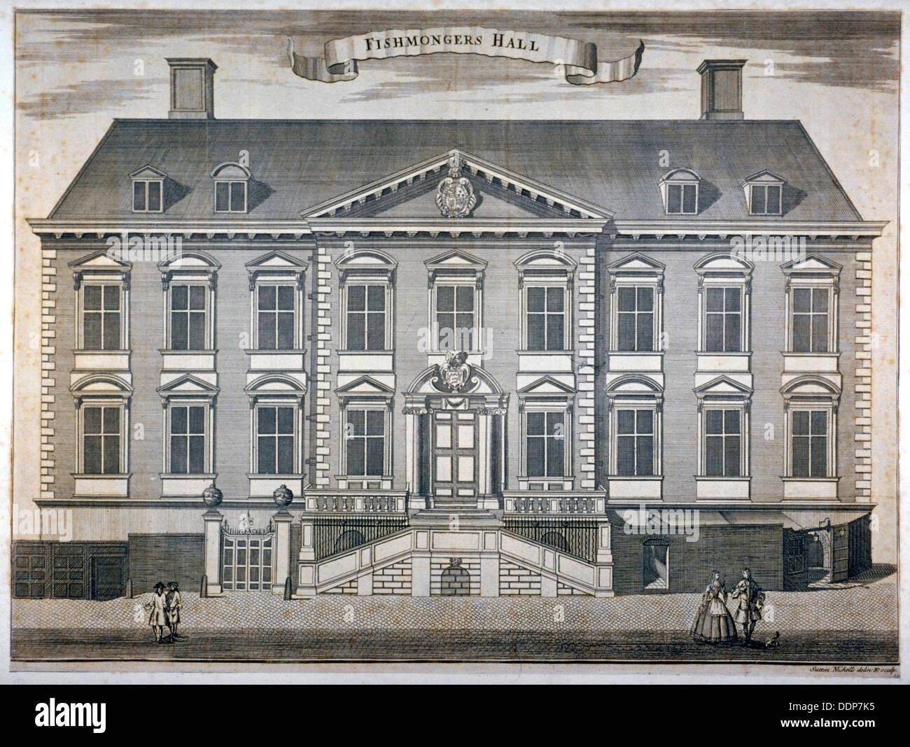 Fishmongers' Hall, City of London, c1750.                 Artist: Sutton Nicholls - Stock Image