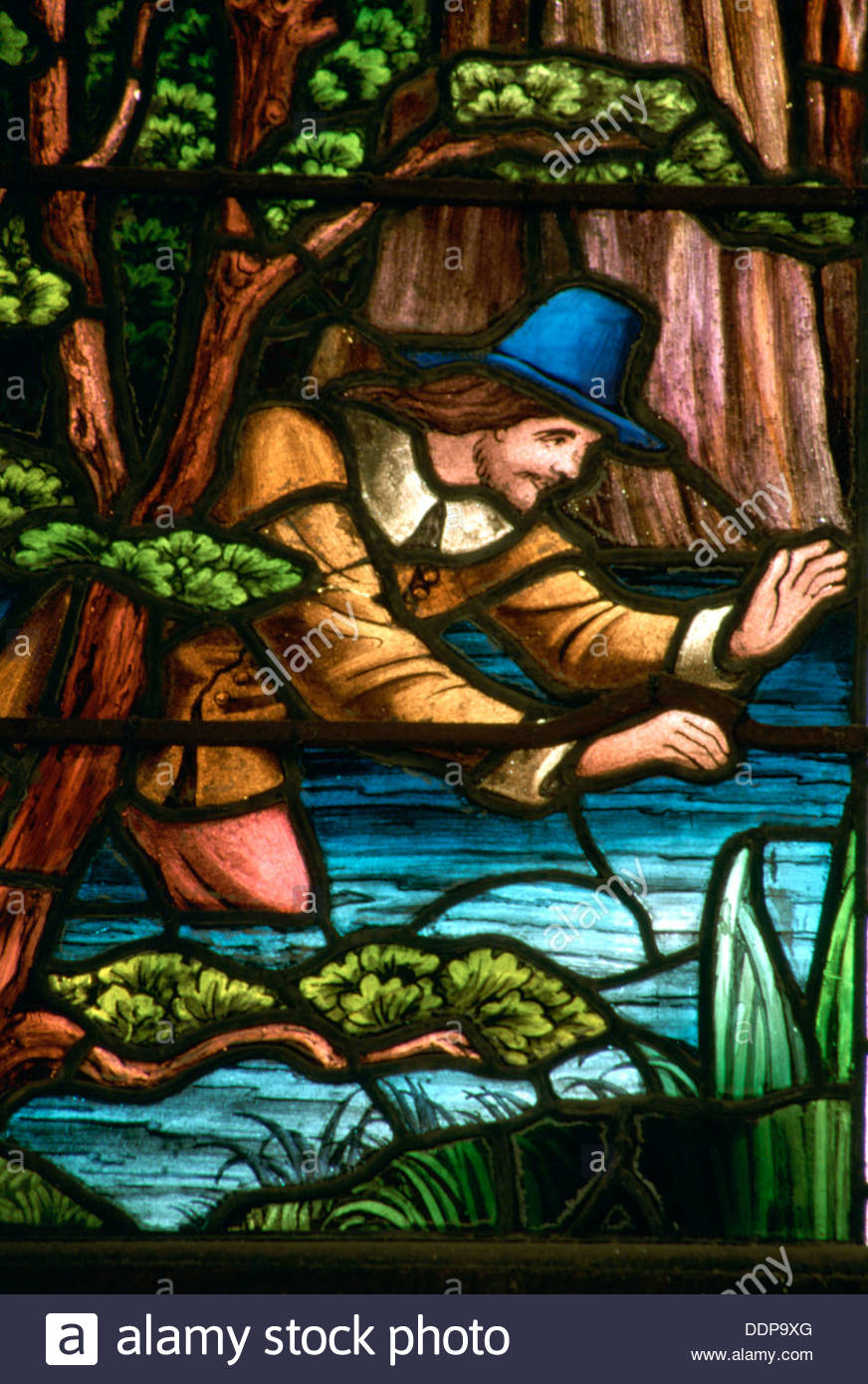 John Bunyan stained glass window (detail), Memorial Hall, Elstow, Bedfordshire. Artist: Derek Anson - Stock Image