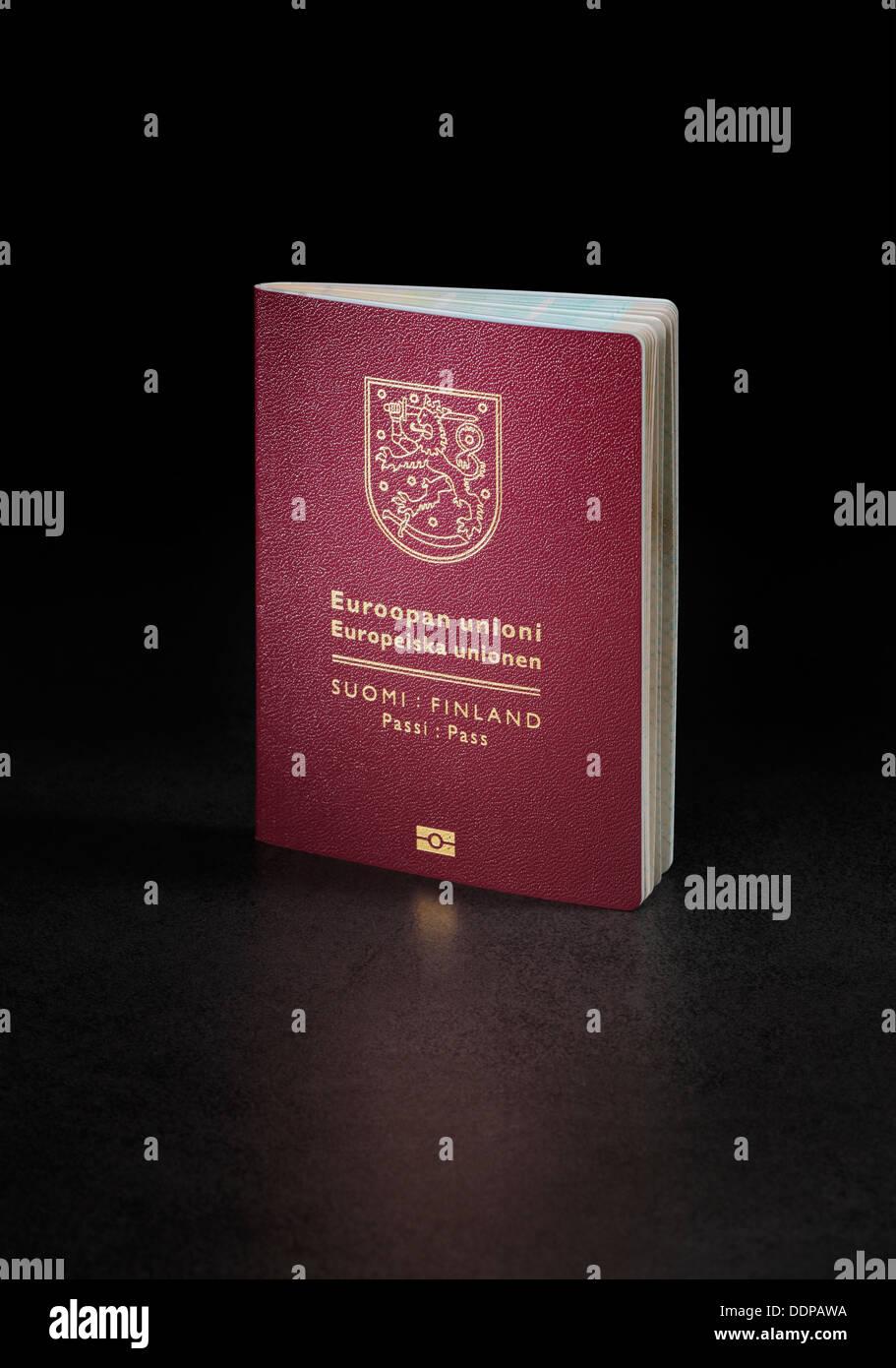 Finnish (Finland) passport. This is the new (2013) design of the passport. - Stock Image
