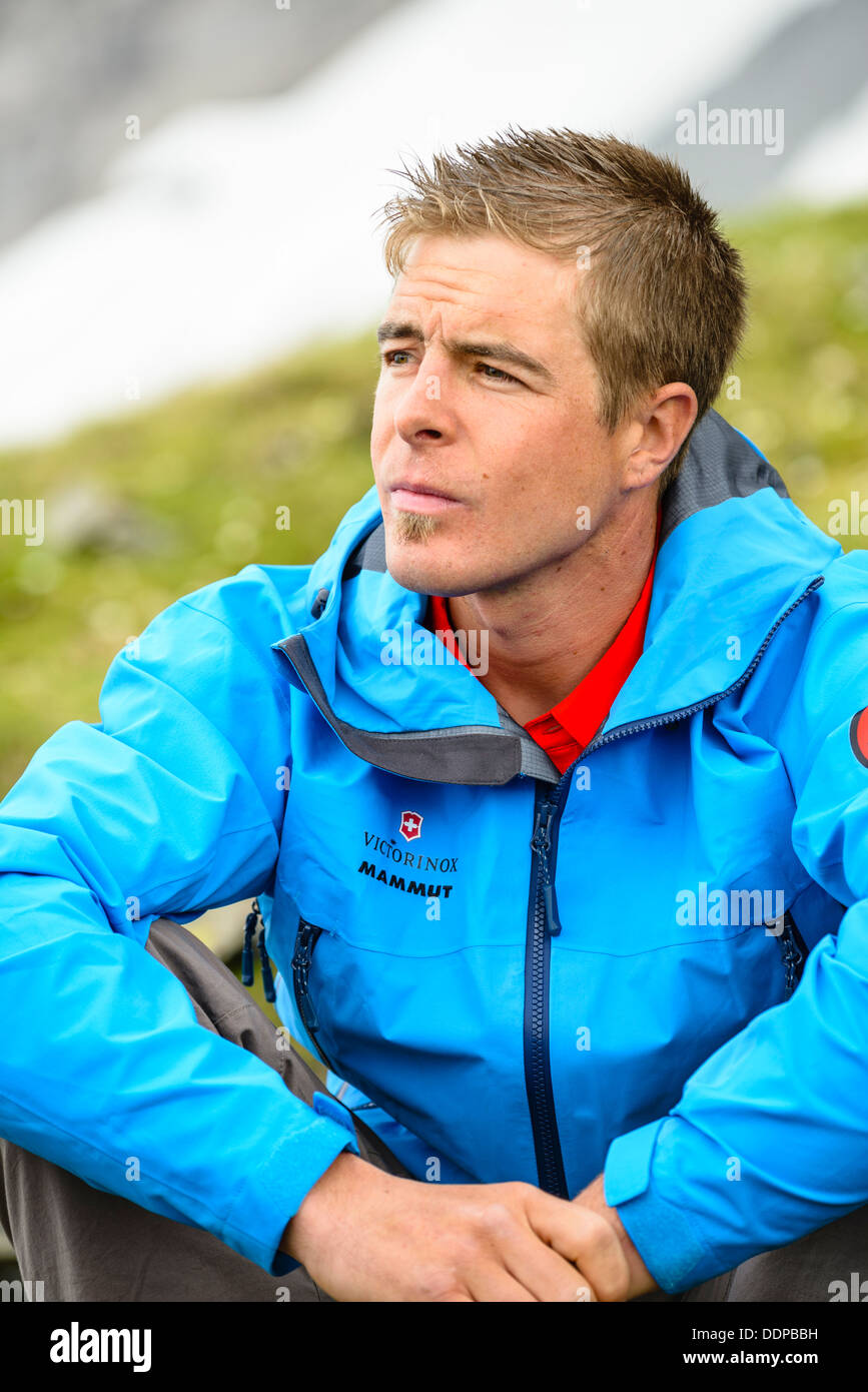 Swiss mountaineer Dani Arnold, current holder of the Eiger North Face speed record - Stock Image
