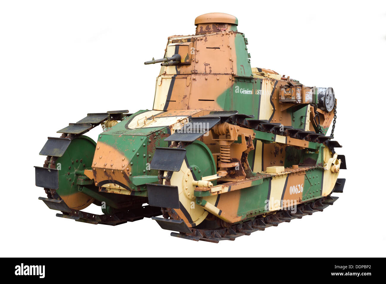 A cut out of a French, Renault FT 17 WW1 camouflaged tank - Stock Image