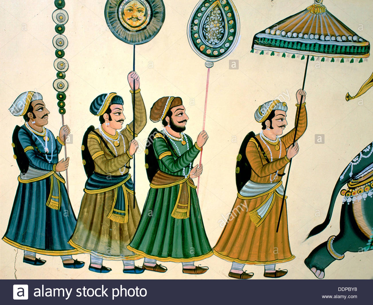 Udaipur Wall decoration with Courtiers, Rajasthan, India. Artist: Dr Stephen Coyne - Stock Image