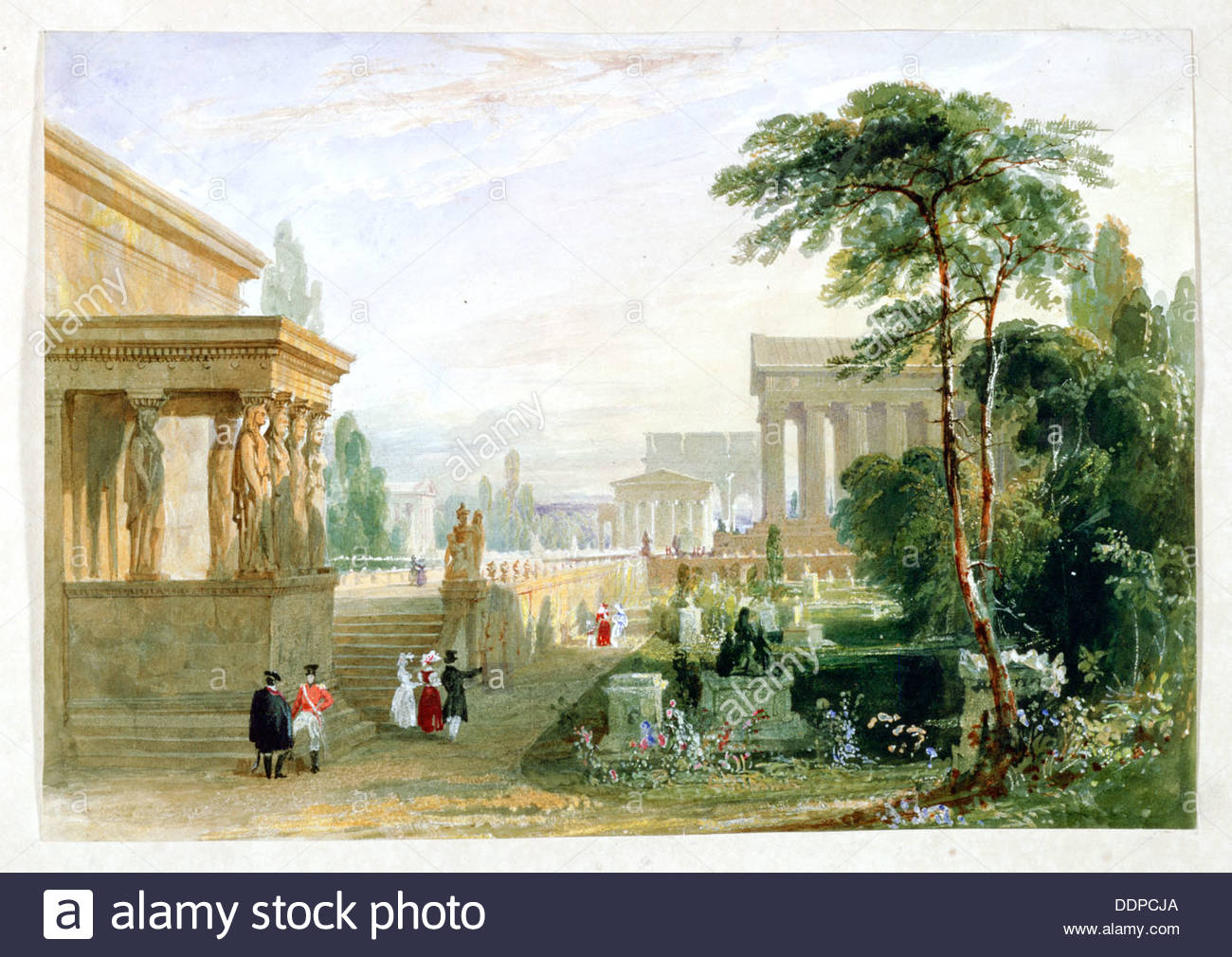 The Proposed Grand National Cemetery, 1830. Artist: Francis Goodwin - Stock Image