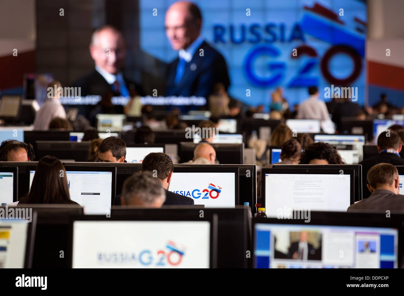 St. Petersburg, Russia. 05th Sep, 2013. Journalists work in the media center at the G20 summit in St. Petersburg, Stock Photo