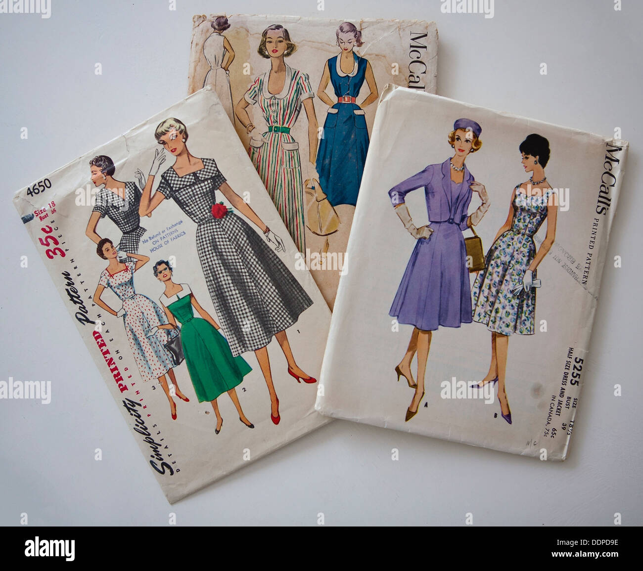 Collection of 3 vintage dress sewing patterns - Stock Image
