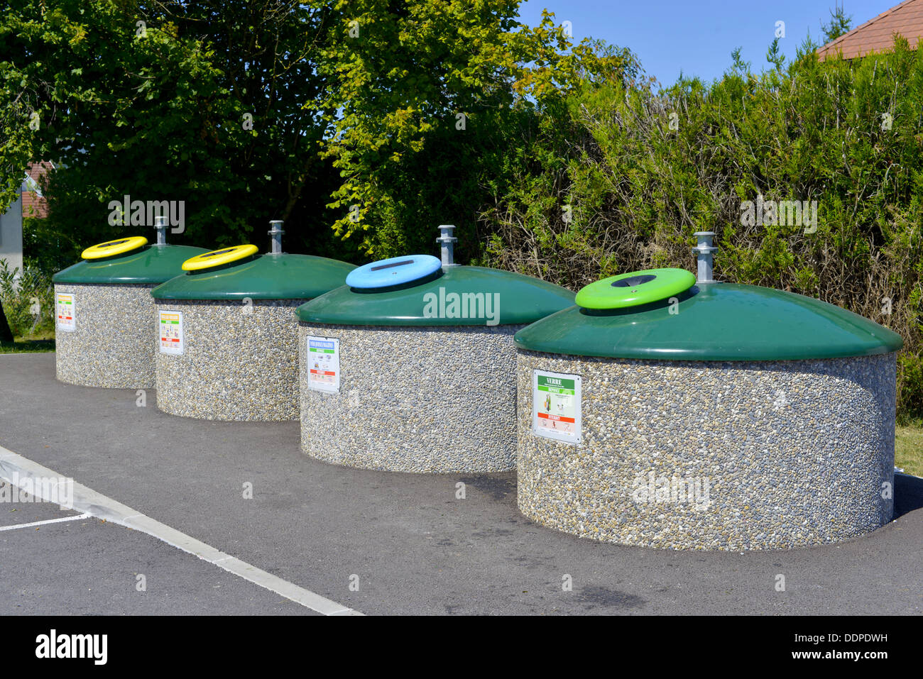 four contenairs for sorting waste - Stock Image