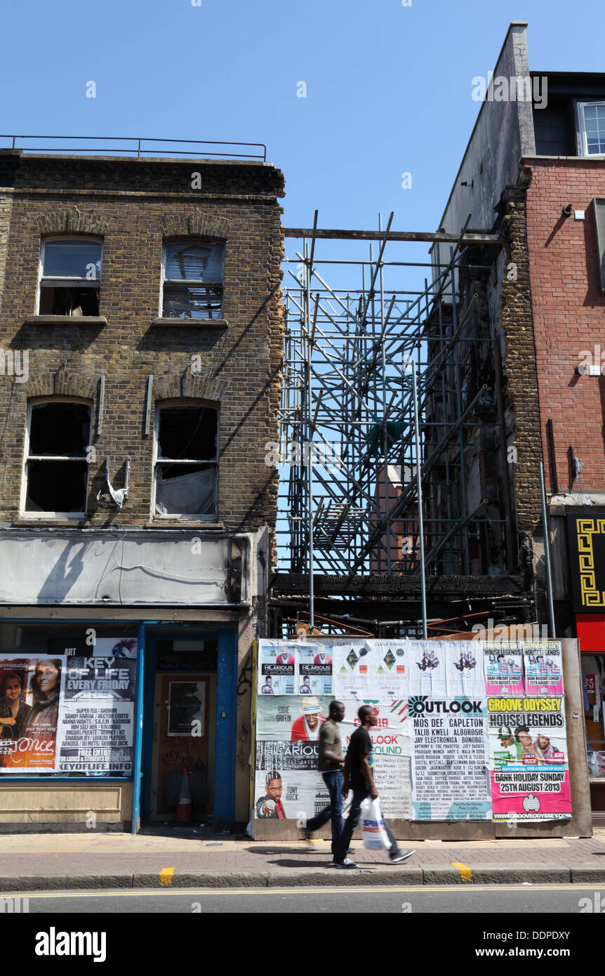 Riot damage from 2011 riots still visible in a Peckham Street, London, SE15, England - Stock Image