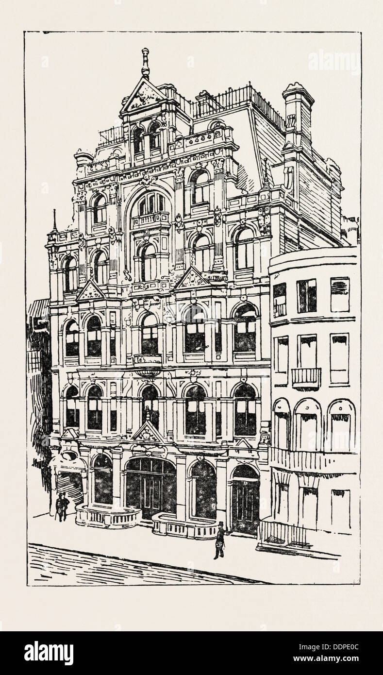 EXTERIOR OF THE MEISTERSINGERS CLUB, LONDON, engraving 1890, UK, U.K., Britain, British, Europe, United Kingdom, Great Britain - Stock Image