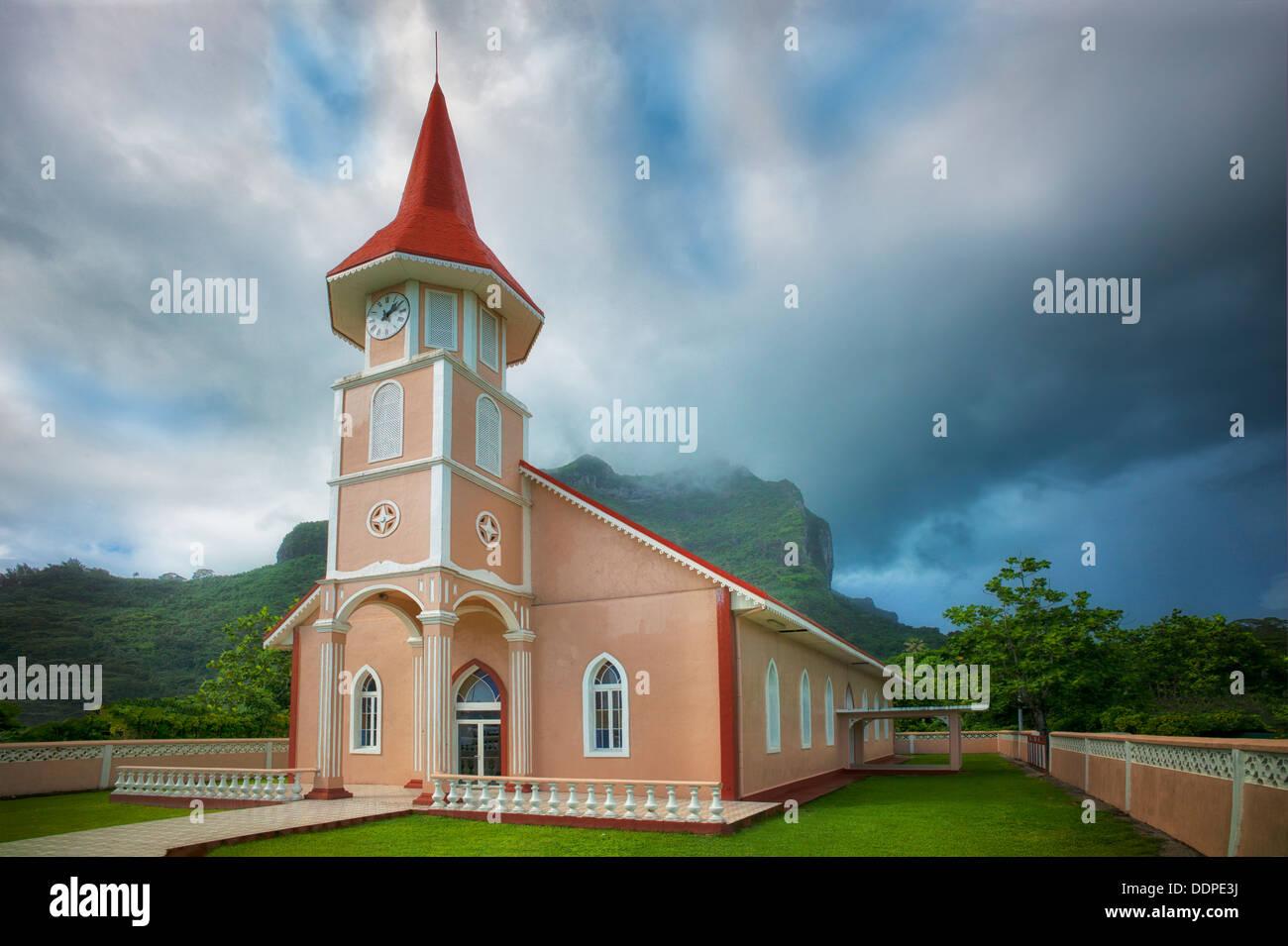 Eglise Evangelique Church. Vaitape, Bora Bora. Fench Polynesia. Stock Photo