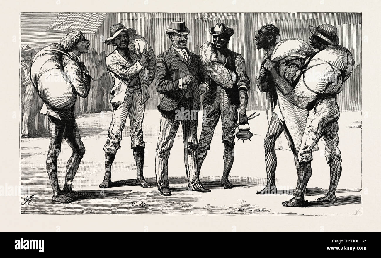 TRANSVAAL GOLD FIELDS, SOUTH AFRICA, CIVILISED AND UNCIVILISED, AN ILLICIT DIAMOND BUYER AND HIS VICTIMS, engraving 1890 - Stock Image