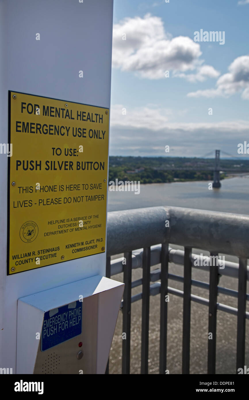 Poughkeepsie, New York - A suicide prevention telephone on the Walkway Over the Hudson. - Stock Image