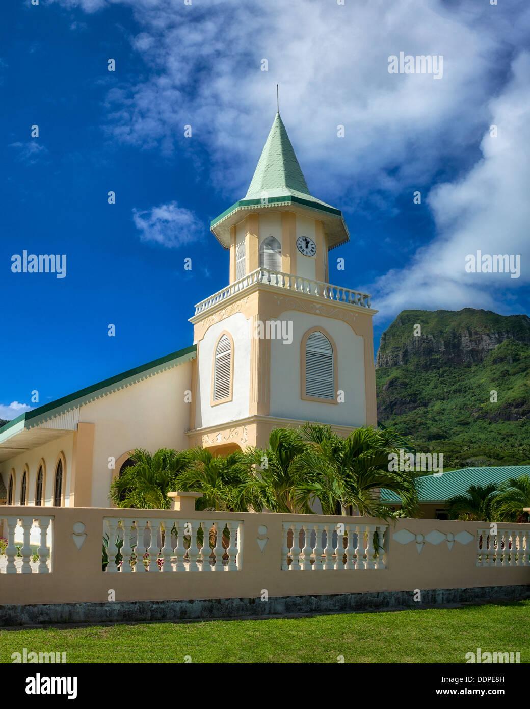 Faanui Protestant Church. Bora Bora. French Polynesia. - Stock Image