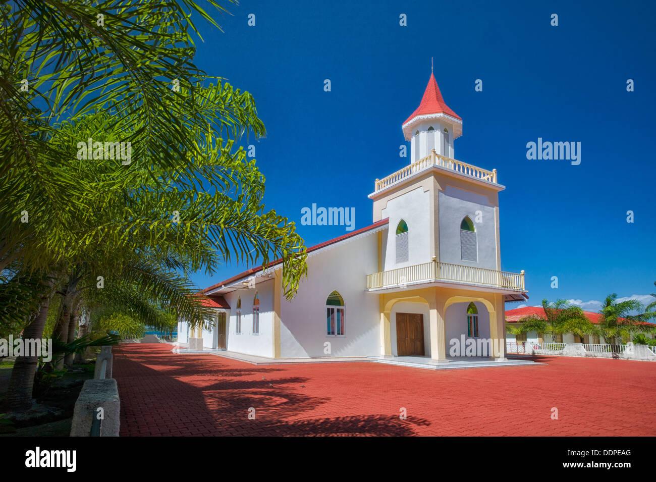 Anau Maohi Protestant Church. Bora Bora. French Polynesia. - Stock Image