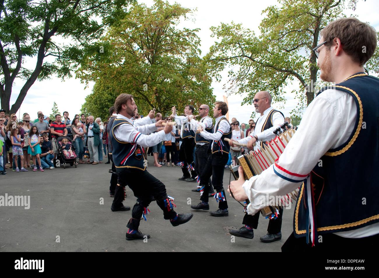 Morris dancing, Lambeth Country Show 2013, Brockwell Park, London, UK - Stock Image