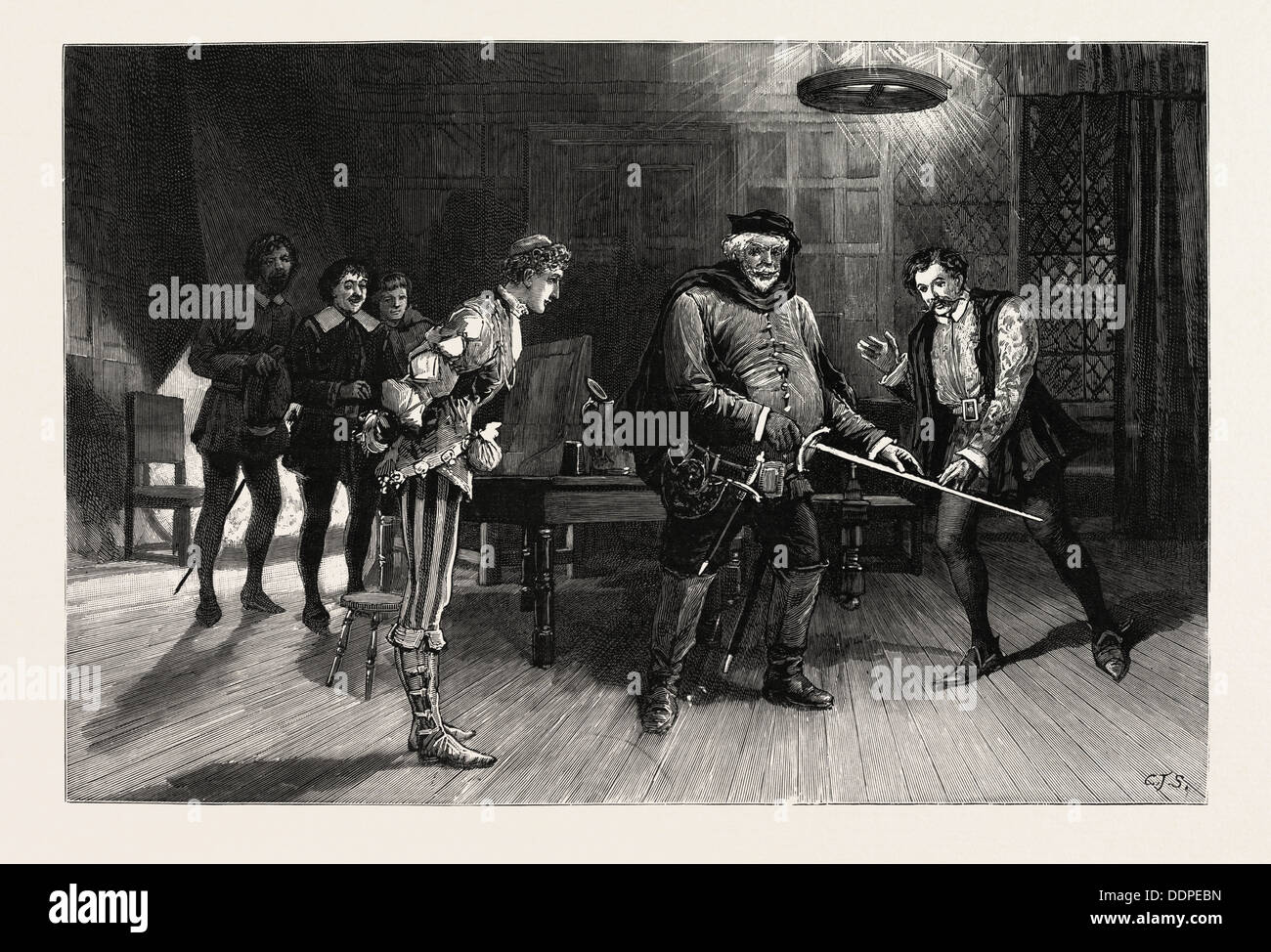 SCENE FROM THE PERFORMANCE OF HENRY IV., PART I., BY THE IRVING DRAMATIC CLUB AT THE LYCEUM THEATRE FALSTAFF - Stock Image