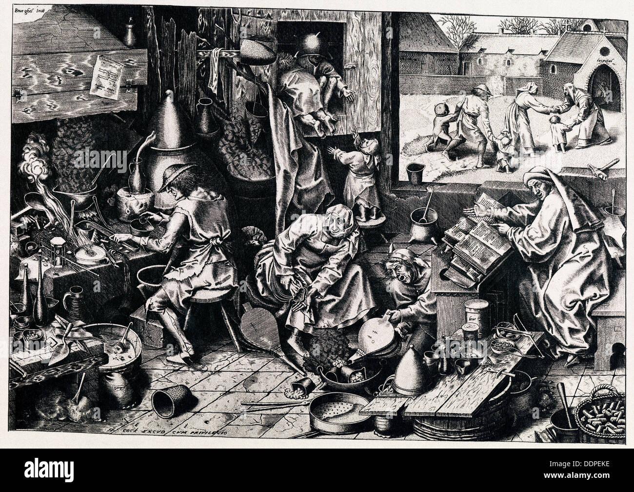 The Alchemist, 1558. Artist: Galle, Philipp (1537-1612) - Stock Image