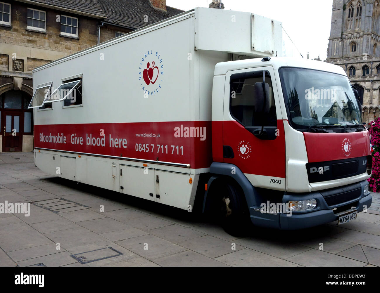 Mobile blood donation unit parked in Stamford, England - Stock Image
