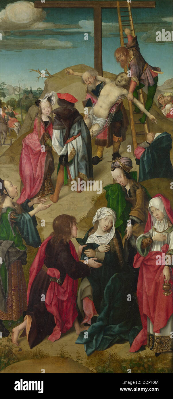 The Deposition (Triptych: Scenes from the Passion of Christ, right panel), c. 1510. Artist: Master of Delft (active Early 16th c - Stock Image