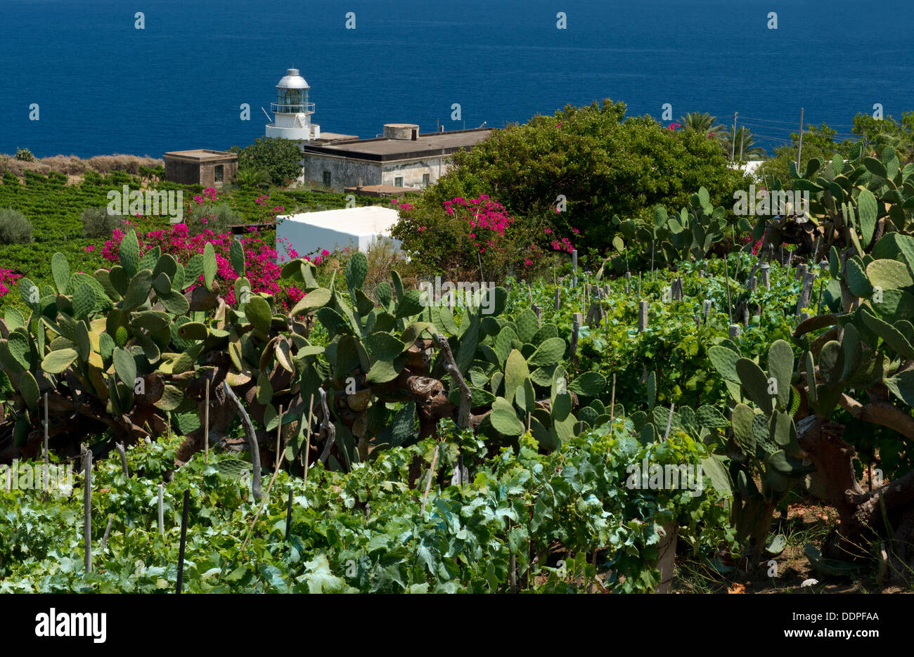 The Capofaro Lighthouse on the island of Salina in The Aeolian Islands, Sicily, Italy - Stock Image