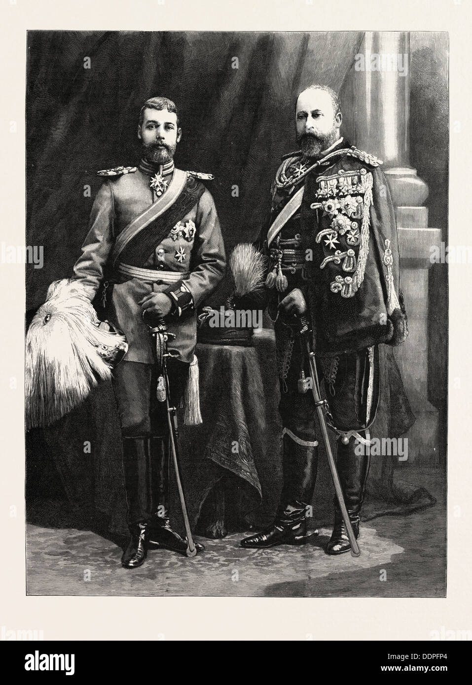 THE PRINCE OF WALES AND PRINCE GEORGE OF WALES IN THE GERMAN UNIFORMS PRESENTED TO THEM BY THE EMPEROR WILLIAM - Stock Image