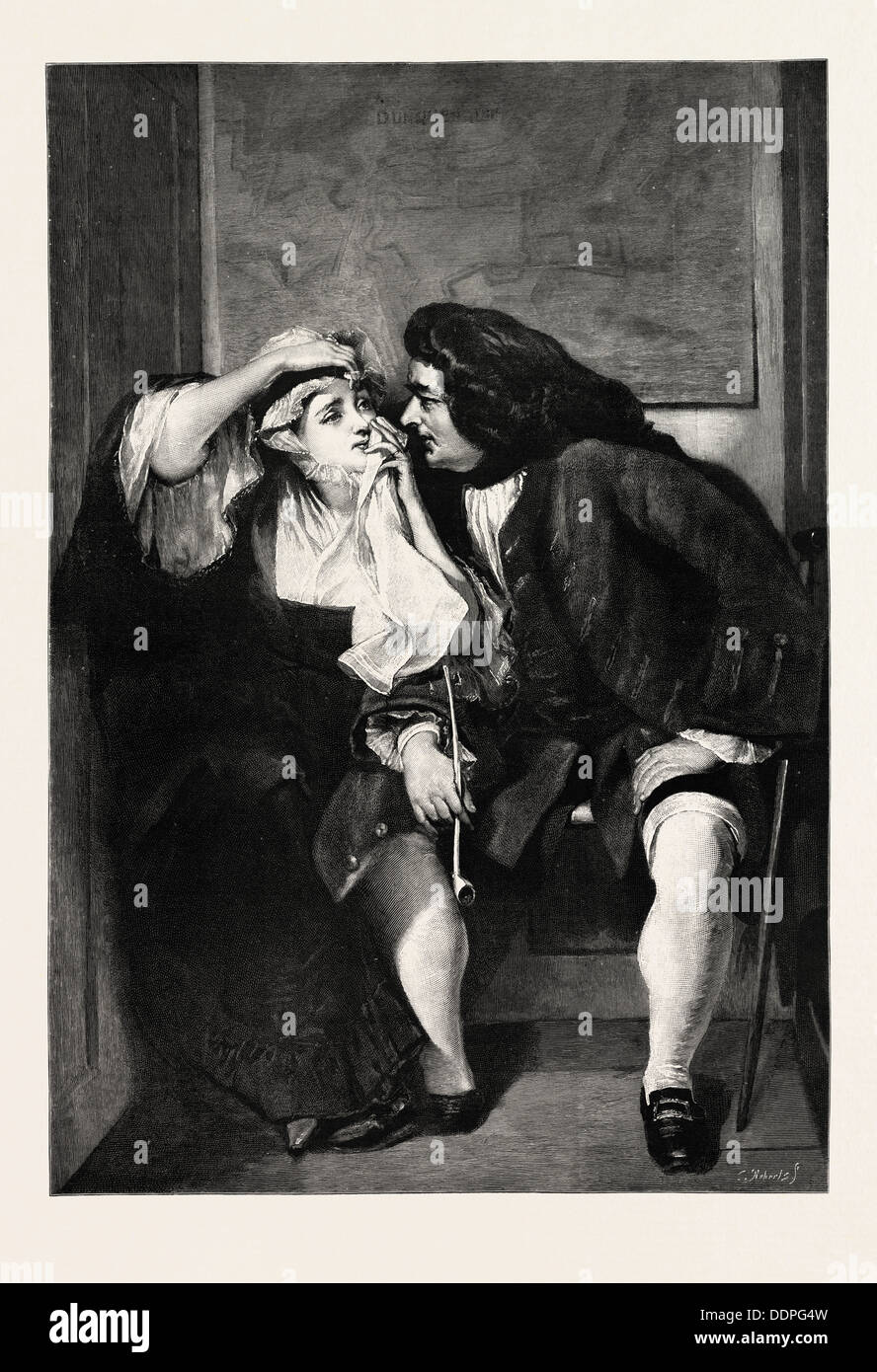 UNCLE TOBY AND WIDOW WADMAN, PICTURE BY C.R. LESLIE, engraving 1890 - Stock Image