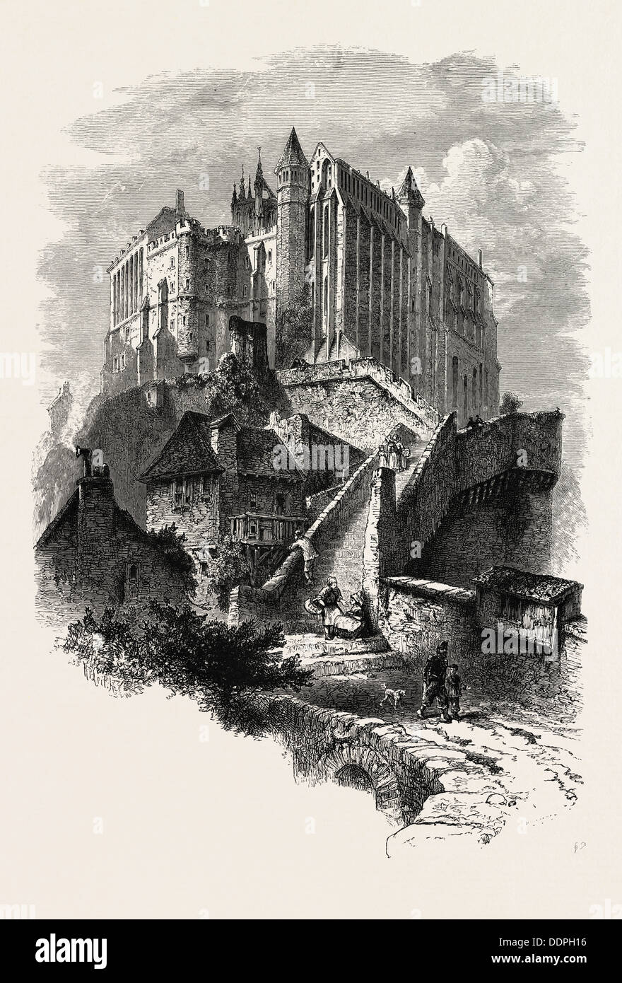 Mont St. Michel, NORMANDY, FRANCE, 19th century engraving;engraved image;history; illustrative technique; engravement; - Stock Image