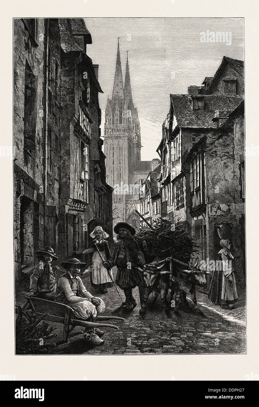 QUIMPER, NORMANDY AND BRITTANY, FRANCE, 19th century engraving - Stock Image