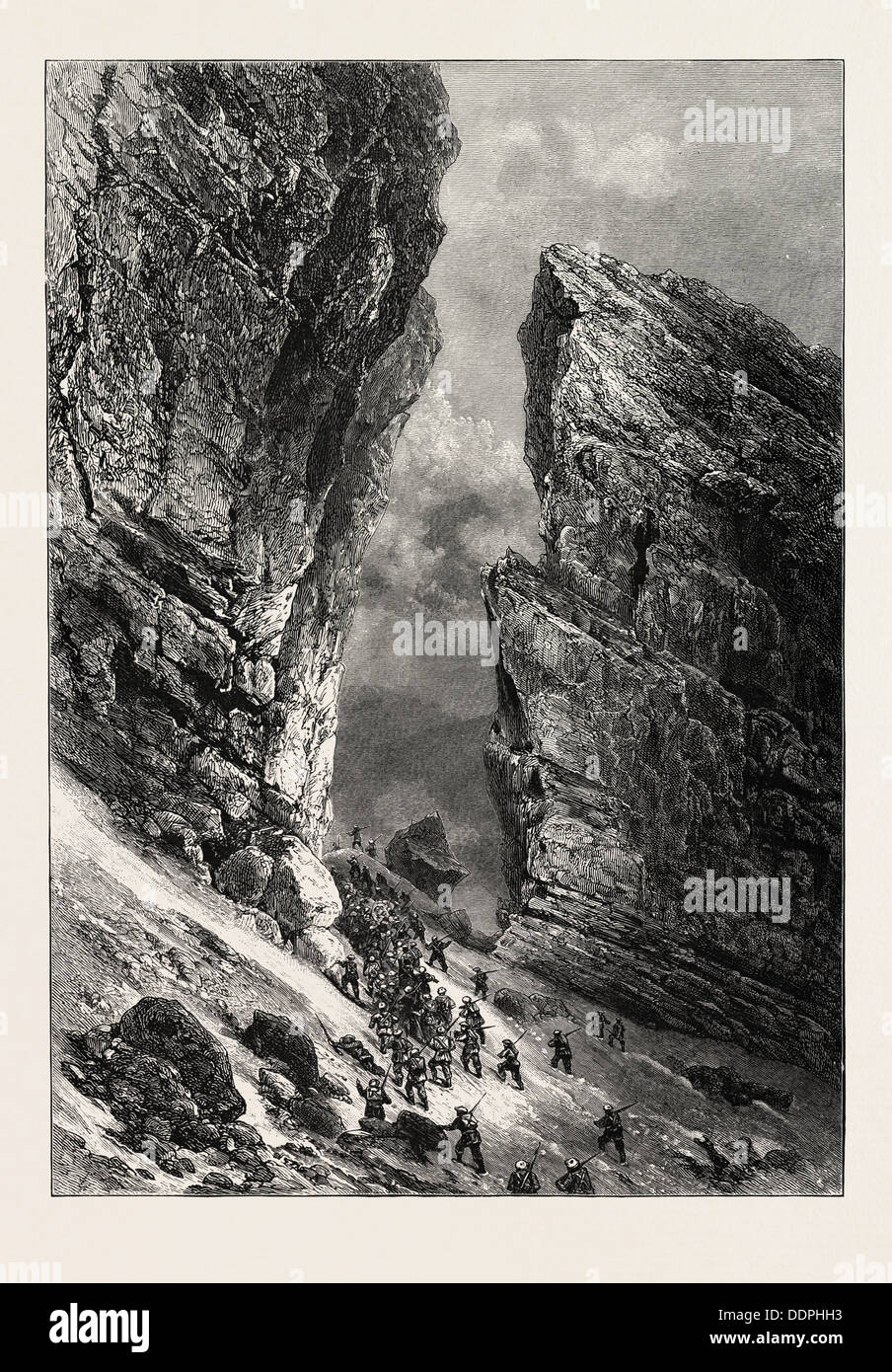 THE BRECHE DE ROLAND, THE PYRENEES, FRANCE, 19th century engraving - Stock Image