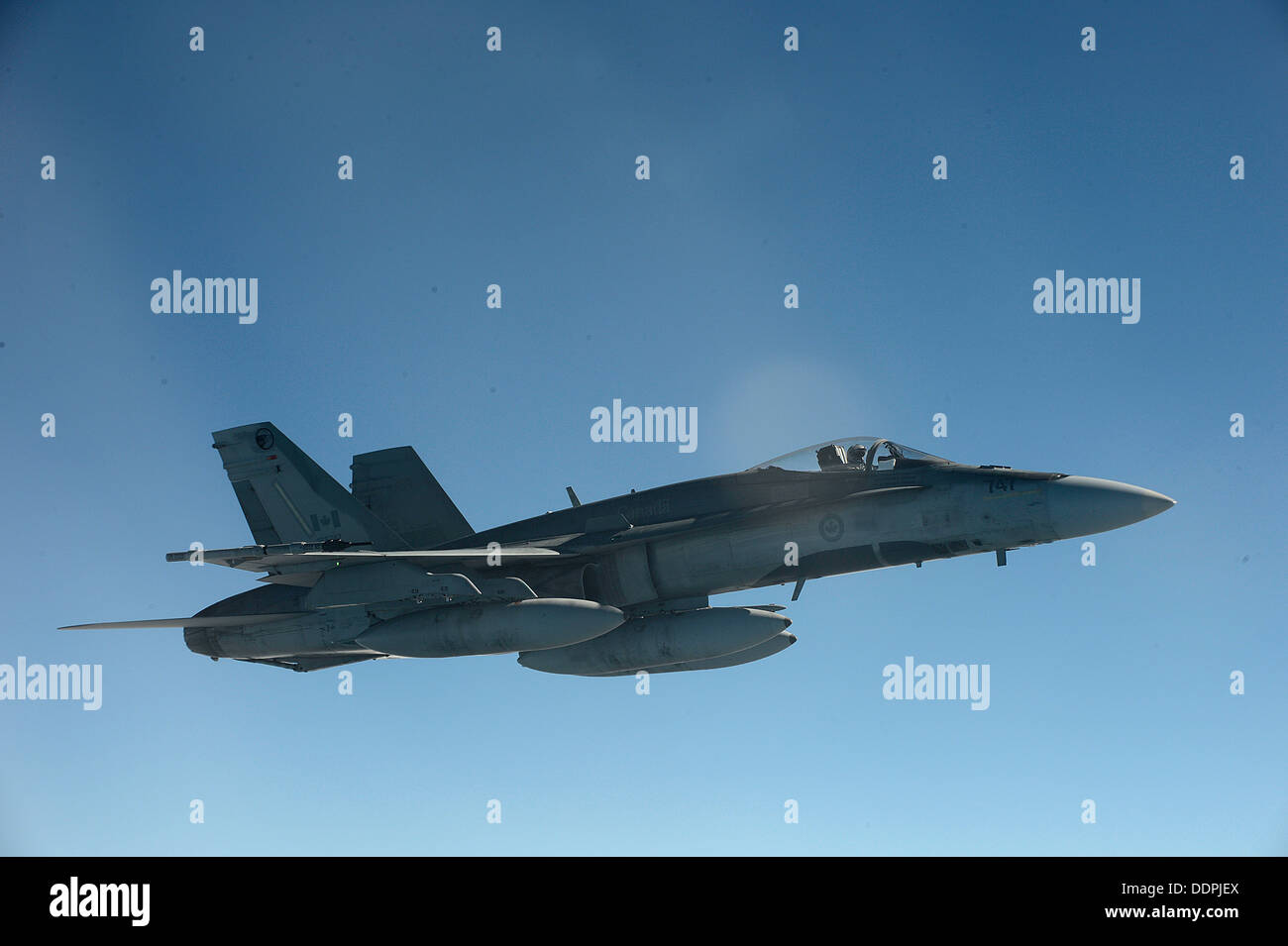 A Royal Canadian Air Force CF-18 Hornet flies a mission in support of Exercise Vigilant Eagle (VE) 13, Aug. 28, Stock Photo
