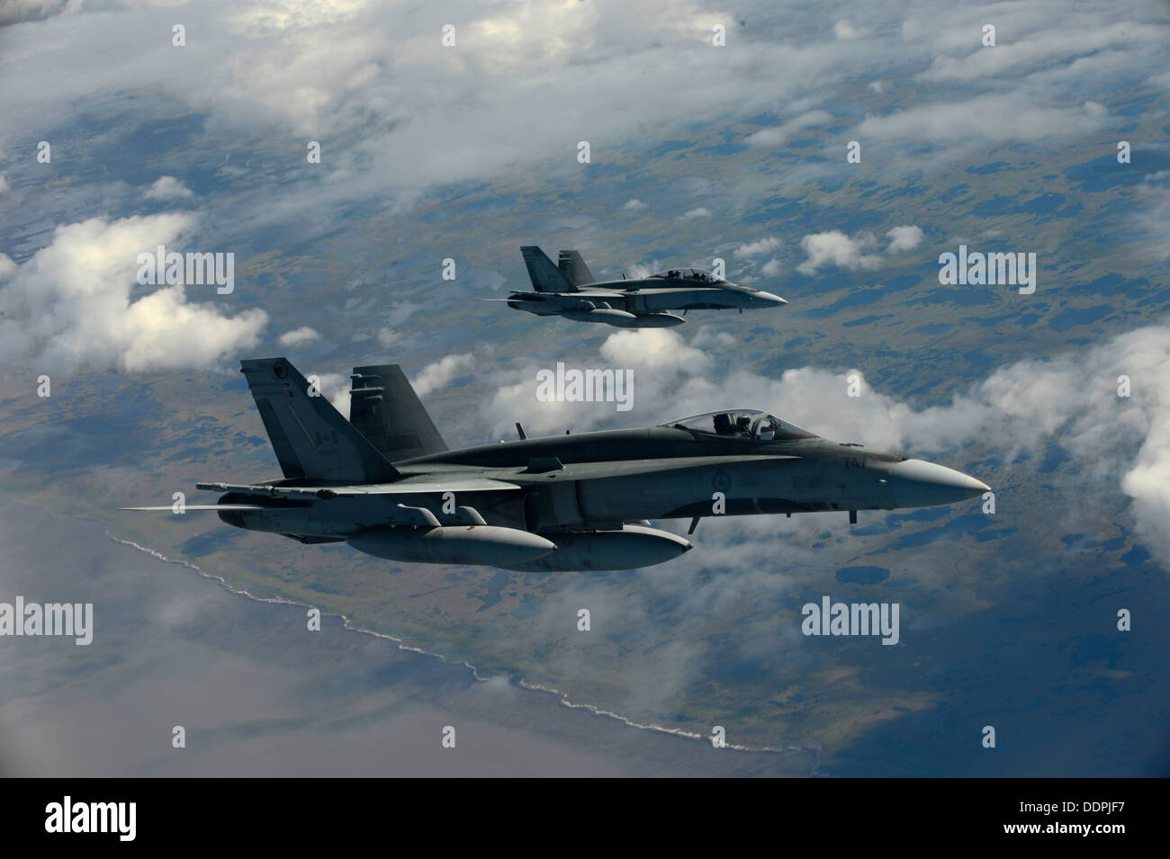 Royal Canadian Air Force CF-18 Hornets fly a mission in support of Exercise Vigilant Eagle (VE) 13, Aug. 28, 2013. Stock Photo