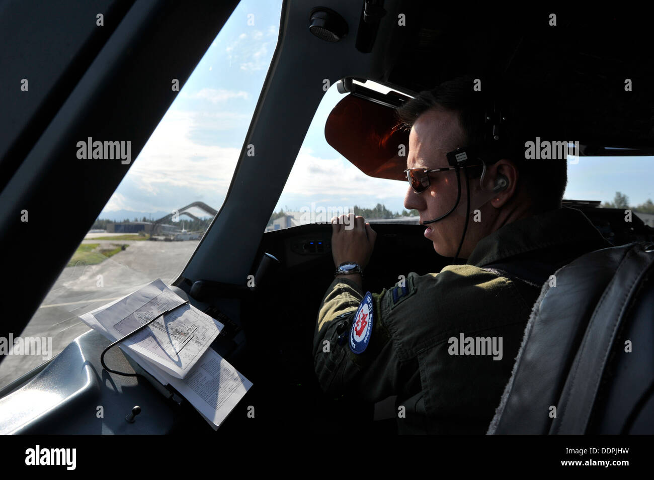 U.S. Air Force Capt. Joe Caruso an exchange pilot with the Royal Canadian Air Force conducts CC-150T Polaris pre Stock Photo