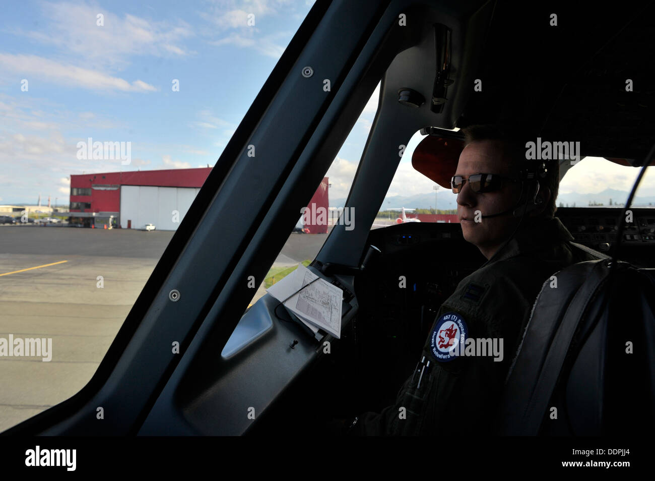 U.S. Air Force Capt. Joe Caruso an exchange pilot with the Royal Canadian Air Force taxis a CC-150T Polaris before Stock Photo