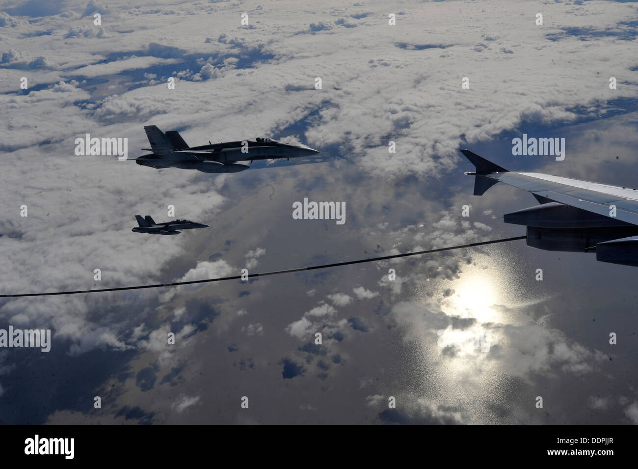 Royal Canadian Air Force CF-18 Hornets receive fuel from a CC-150T Polaris Aug. 28, 2013, at Exercise Vigilant Eagle Stock Photo