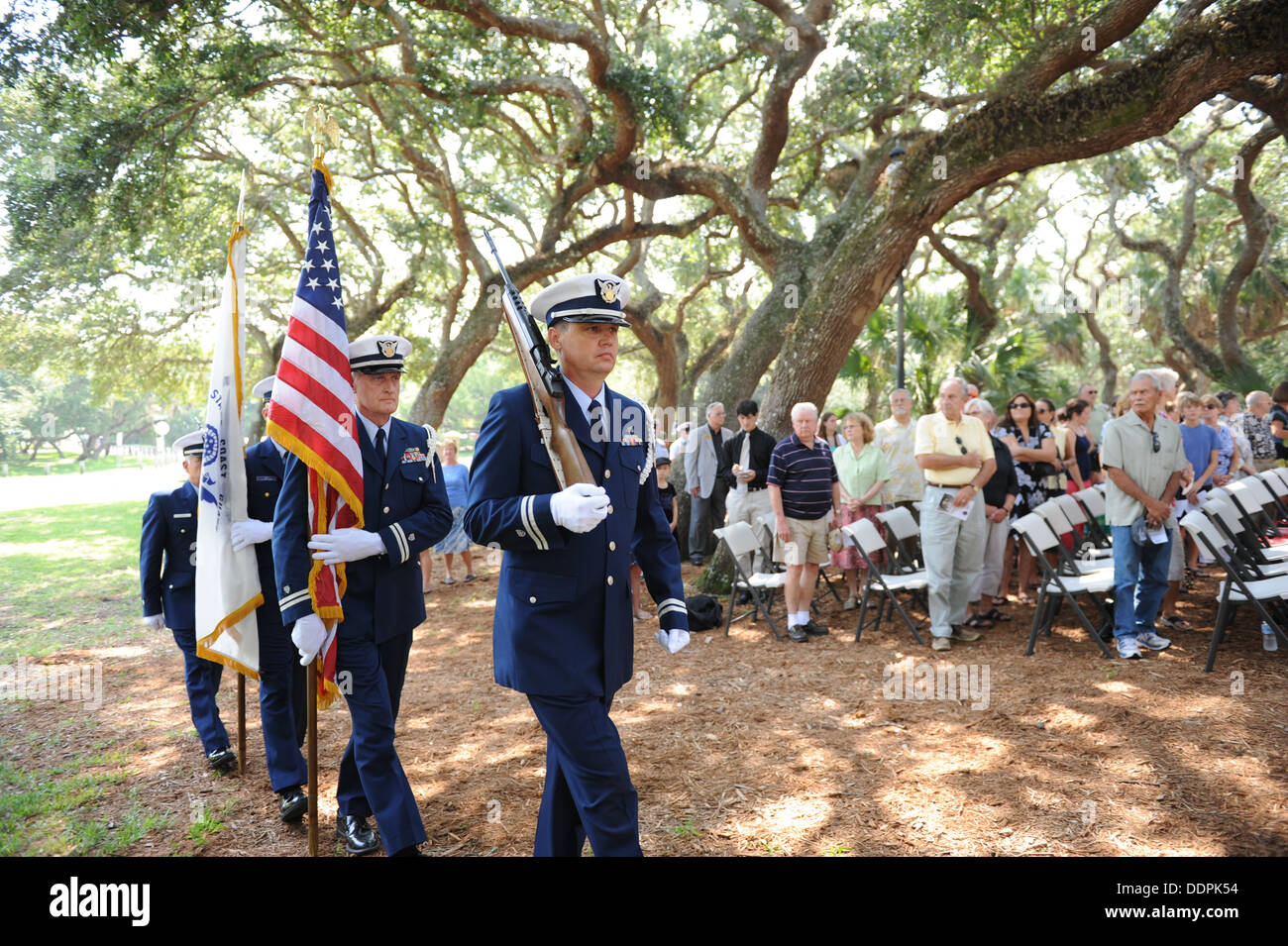 Members of the U.S. Coast Guard Auxiliary post the colors Saturday, Aug. 31, 2013, at the St. Augustine Lighthouse and Museum du - Stock Image