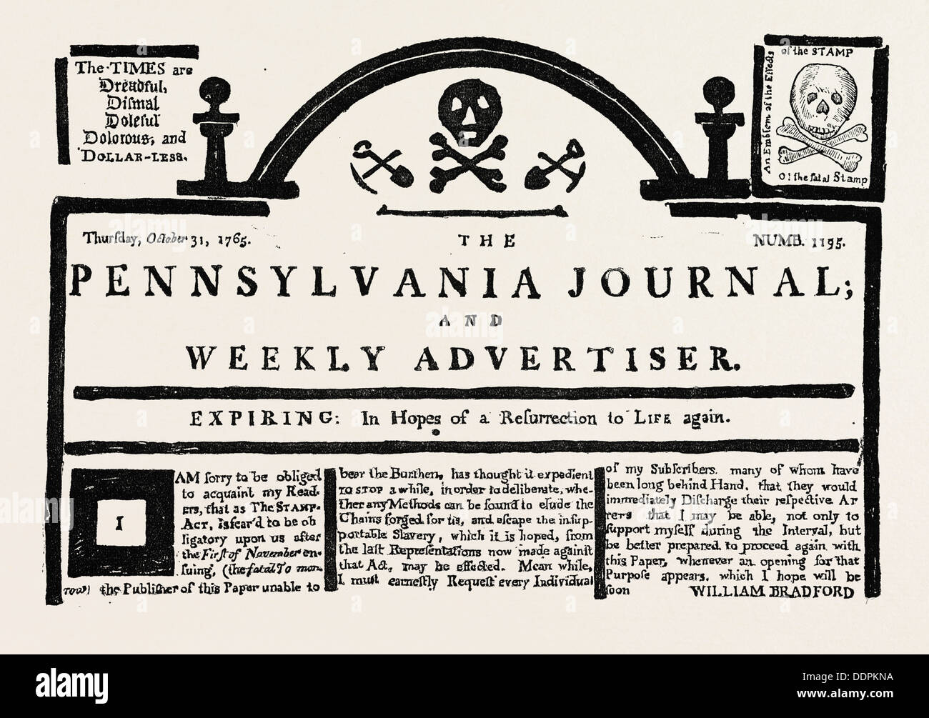 FACSIMILE OF THE  PENNSYLVANIA JOURNAL  ON THE STAMP ACT. American Historical and Literary Curiosities, US, USA, 1870s engraving - Stock Image