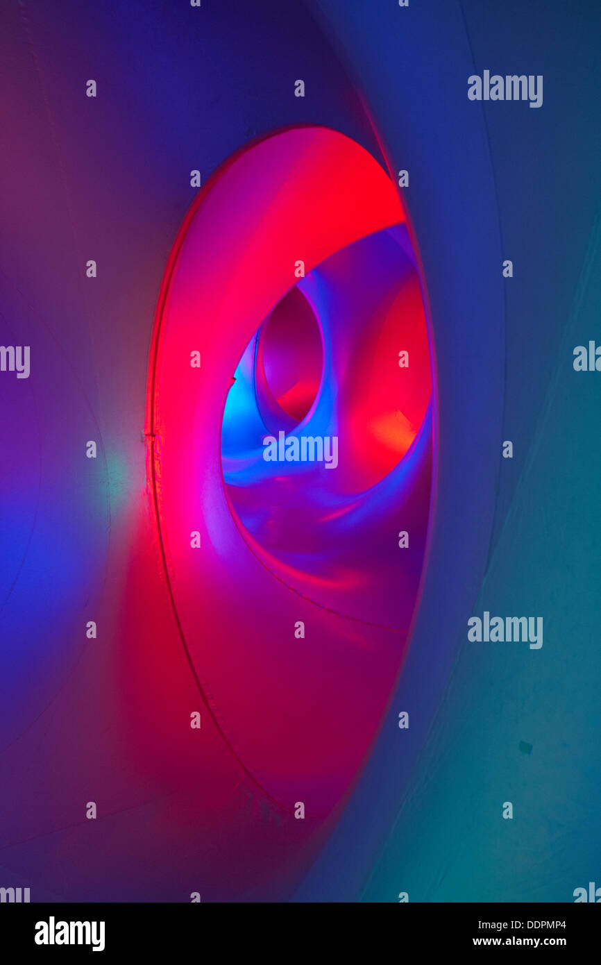 Inside the Amococo Luminarium at Bournemouth, Dorset UK in September - colourful abstract multi-coloured multi colours. Stock Photo