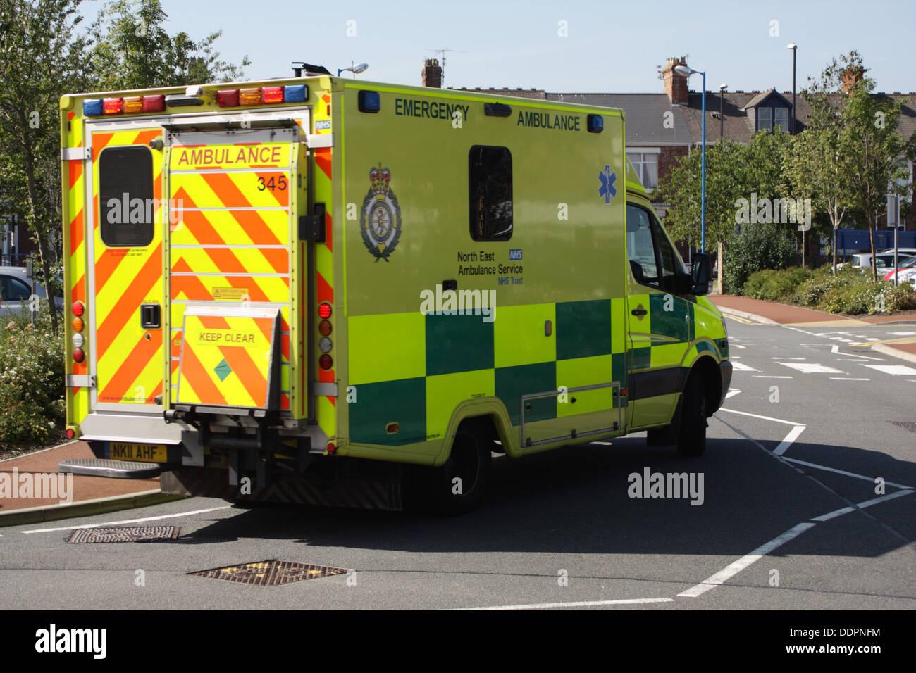 Ambulance leaving Sunderland Royal Hospital, - Stock Image